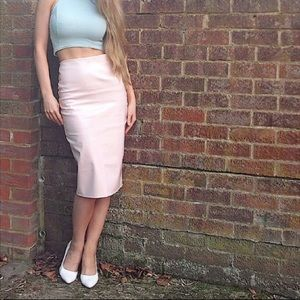 Missguided Pink Patent Leather PVC Midi Skirt